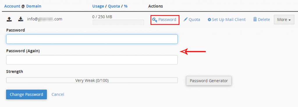تغییر پسورد ایمیل در cpanel