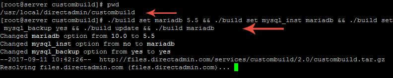 فعالسازی mariadb بر روی سرور
