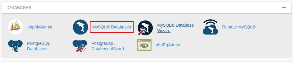 بعد از لاگین به سی پنل از بخش Databases بر روی MySQL Databases کلیک کنید.