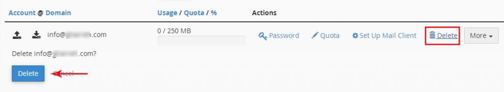 حذف اکانت ایمیل در سی پنل