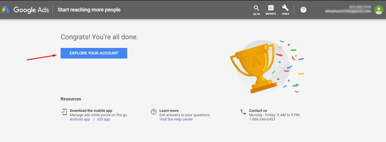 ساخت اکانت گوگل ادوردز
